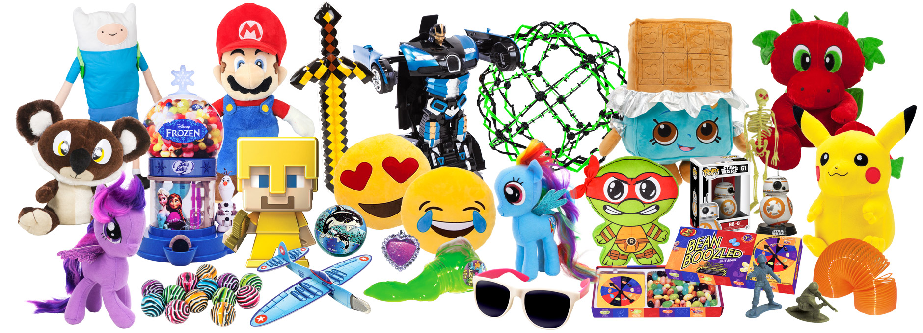 Photo of a variety of plush, novelty, and inflatable items
